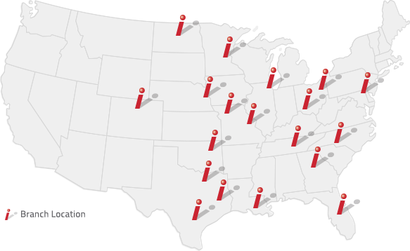 United States map showing 19 branch locations