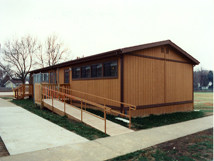Modular building with wheelchair ramp.
