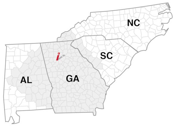 service area states: Georgia, Alabama, North Carolina, South Carolina