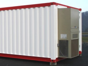 Exterior of a modular building with air conditioning unit.