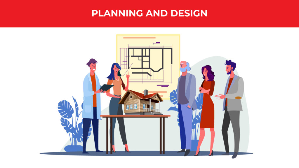 an illustrated group of coworkers are standing around a table with a small-scape city and a blueprint on the wall behind them