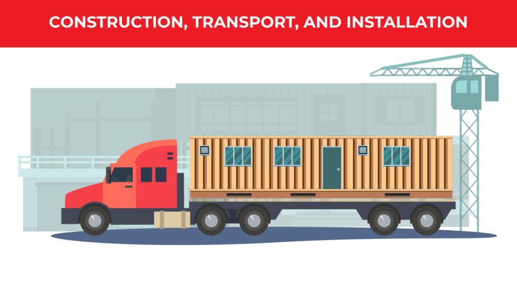 an illustrated semi truck is hauling a wooden modular building