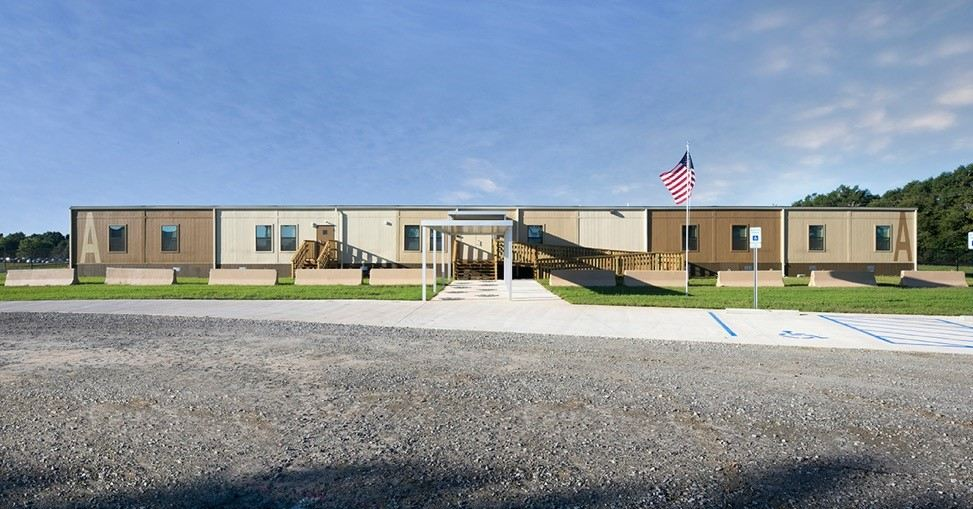 The exterior of a completed modular building.