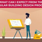 An illustration of a man designing a modular building floor plan.