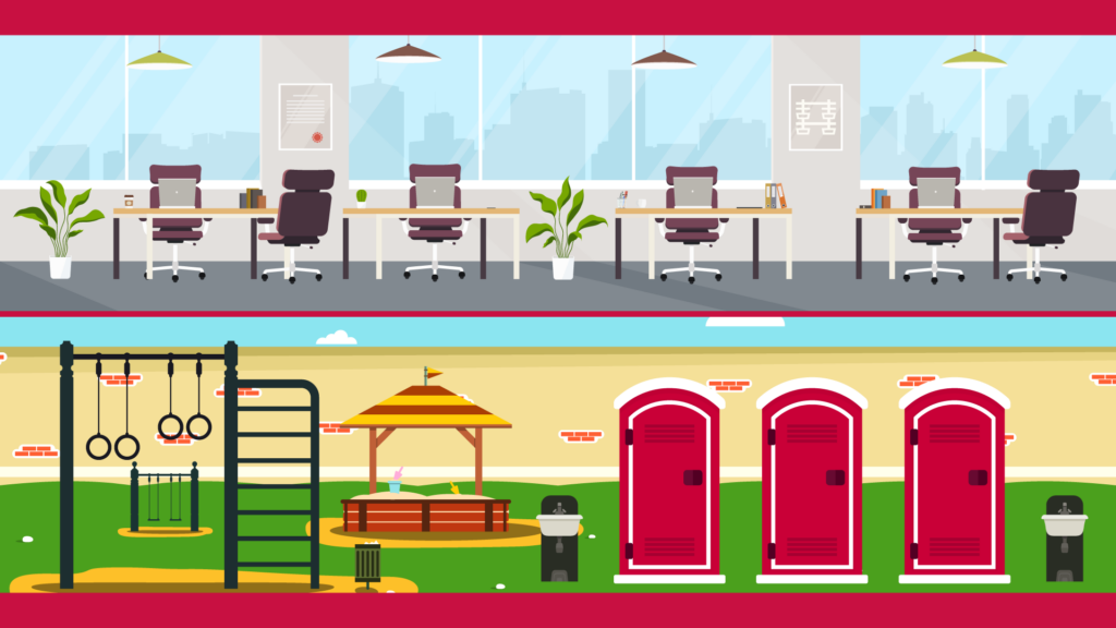 an illustration of the special features Satellite offers, including office space and portable restrooms
