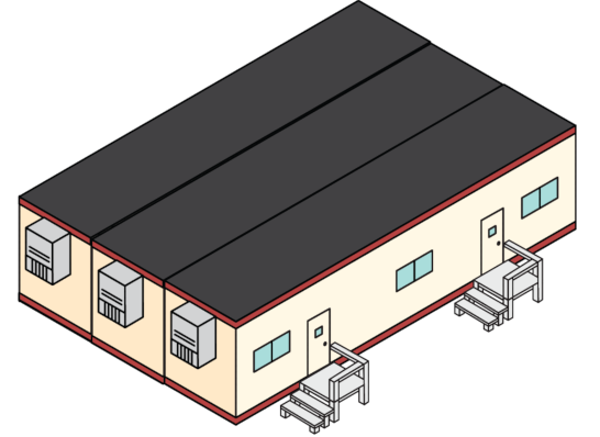 A digital rendering of an s-plex modular building.