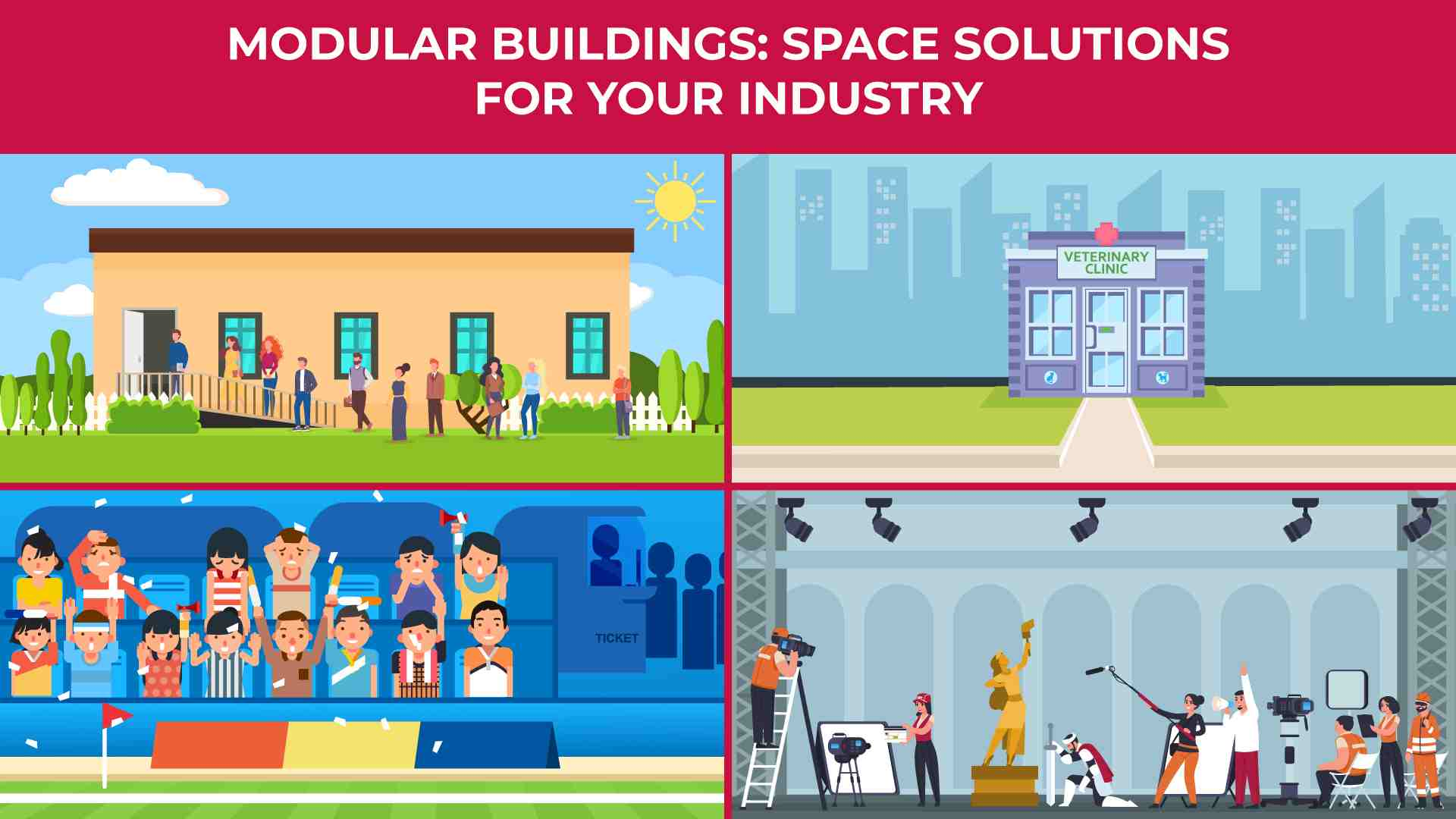 an illustration of the different uses of modular buildings in industries such as film, religious organizations, and sporting events