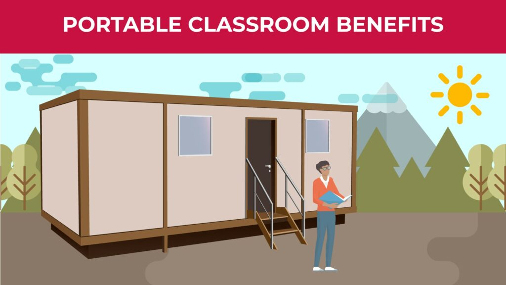 an illustration of a teacher standing outside the portable classroom with a book