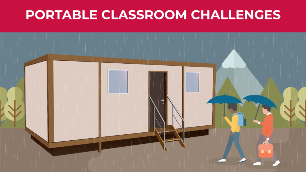an illustration of two students walking up to a portable classroom holding umbrellas while it's raining