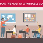 an illustration of a portable classroom with a teacher pointing at a map while students watch