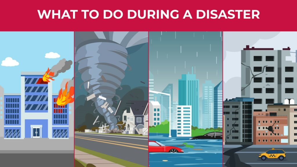 an illustration of a building on fire, a tornado, a flood, and an earthquake