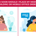 an illustration of a woman placing an order for a modular building or mobile office
