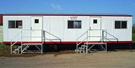 Mobile office building with two entrances.